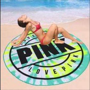 VS Pink Love Pink Beach Towel Tie Dye